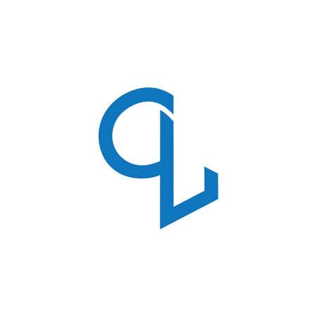 letter ql simple linked geometric line logo vector