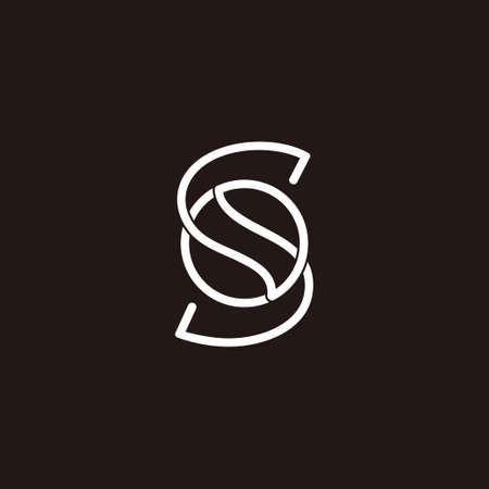 letter s overlap design circle geometric linear logo vector