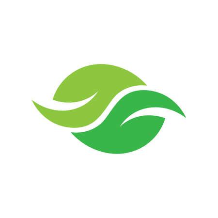 green leaf geometric curves natural organic food symbol vector