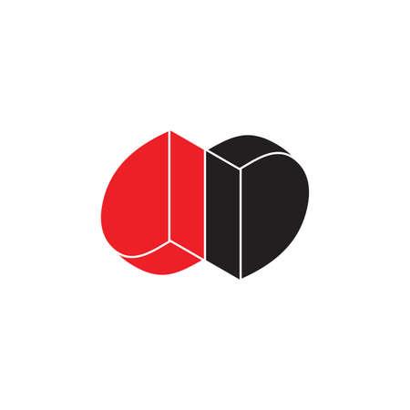 letter dd flat 3d geometric logo vector Illusztráció