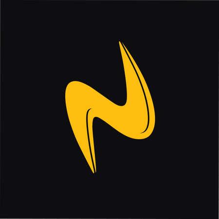 abstract letter n thunder shape simple curves logo vector