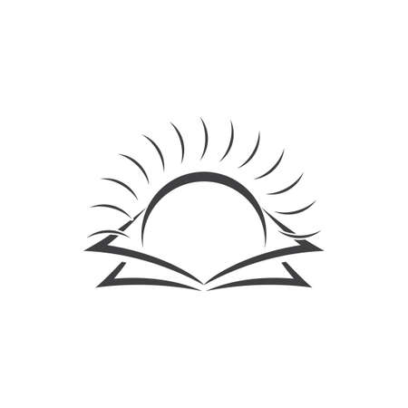 shine sun rise book education logo vector