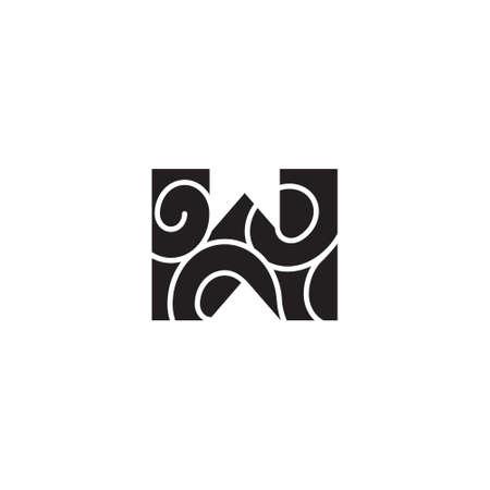 letter w curves mosaic symbol logo vector