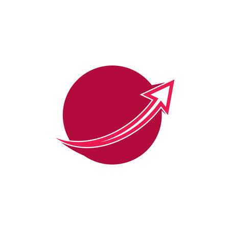 simple geometric arrow up global marketing logo vector