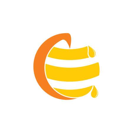 letter c honey comb logo vector Ilustracja