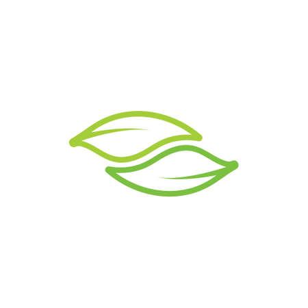 linked curves leaf nature symbol logo vector