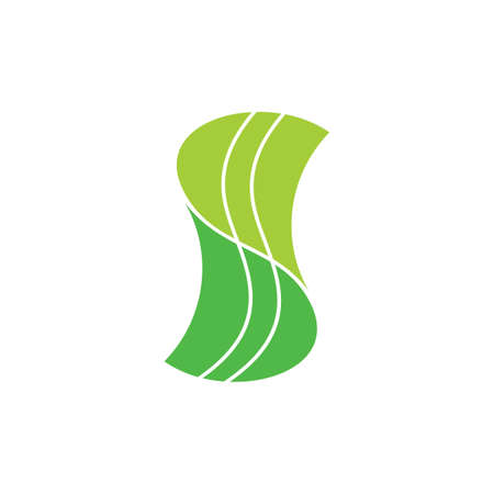 abstract letter s linked green leaf logo