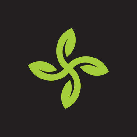 abstract propeller green leaf geometric logo vector