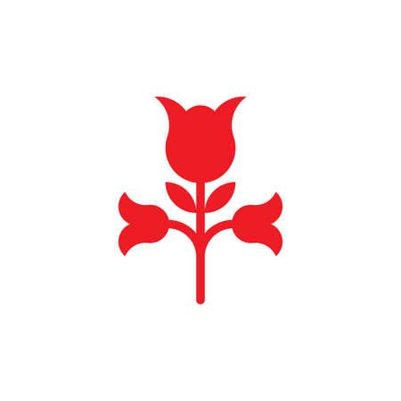 simple geometric red rose logo vector