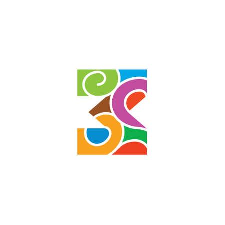 number 3 curves mosaic symbol logo vector Illusztráció