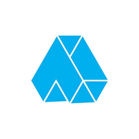 letter a arrow up geometric 3d logo vector