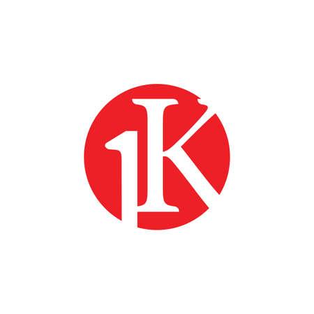 letter 1k circle negative space symbol vector Illusztráció