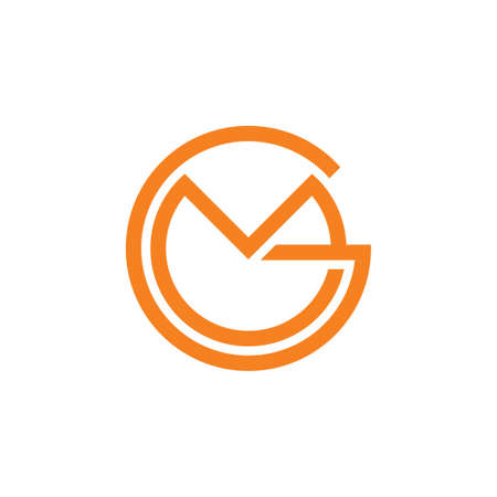 letters gm simple circle linked line logo vector