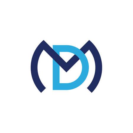letter md linked colorful overlap design logo vector
