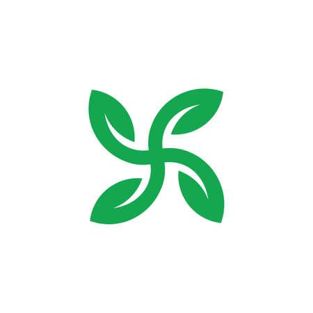 square geometric green leaf circle logo vector