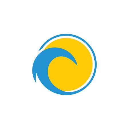 circle geometric sun waves circle logo vector