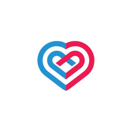 love heart ribbon charity symbol logo vector