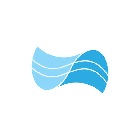 abstract blue waves stripes simple logo