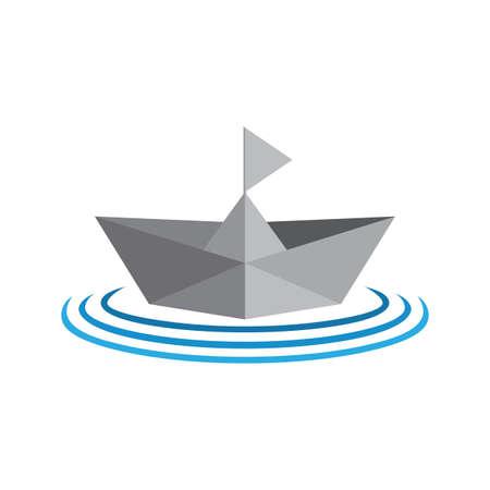 paper ship boat gradient 3d symbol logo vector