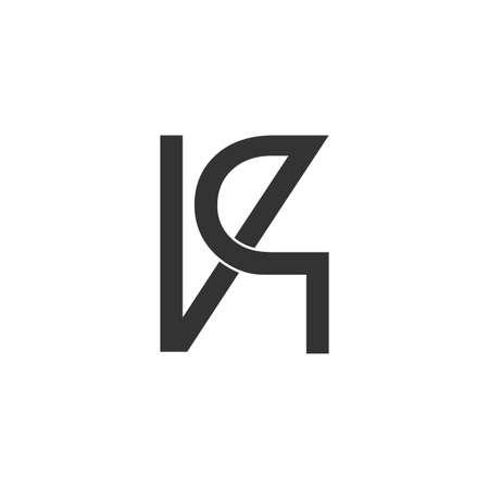 letter vq overlapping line logo vector