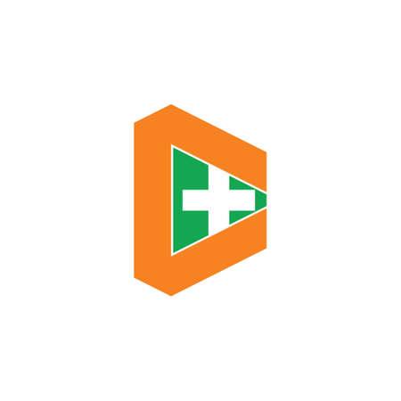 letter c geometric plus medical logo vector Illusztráció