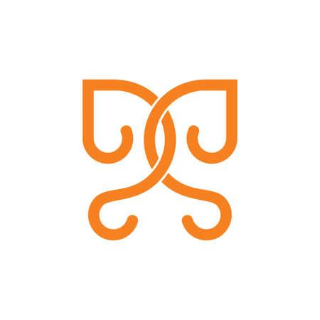 letters dd linked curves line loop design logo