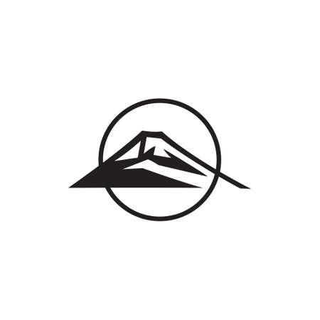 mountain circle line outdoor symbol vector