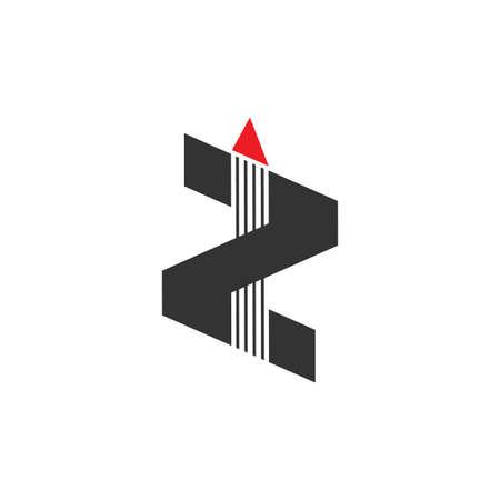 letter z stripes geometric arrow logo vector