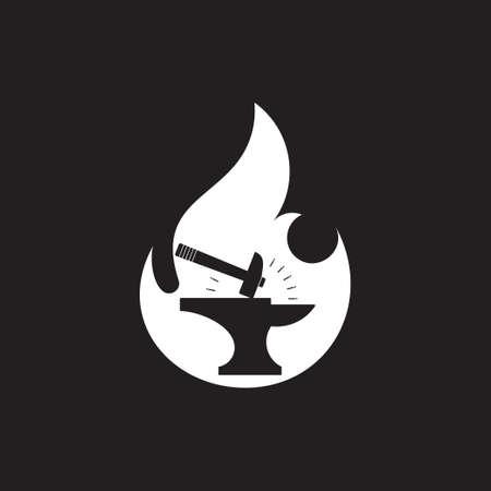 iron hammer negative space design symbol silhouette design vector