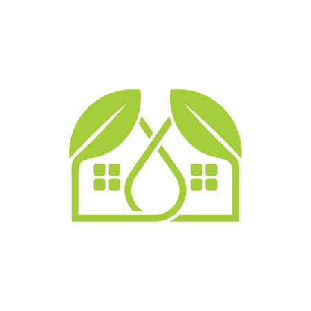 simple linked leaf home shape logo vector Ilustracja
