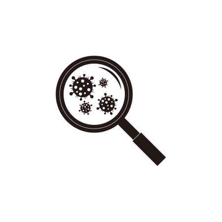 influenza virus searching scanner magnifier symbol flat design vector