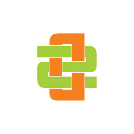letter d2 simple overlapping colorful logo vector Ilustrace