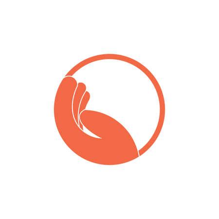 simple lay hand circle geometric care symbol vector