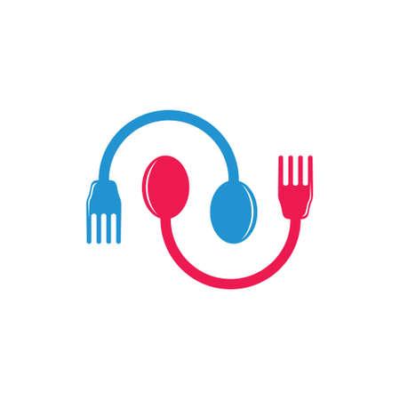 spoon fork circle geometric decoration vector Illusztráció