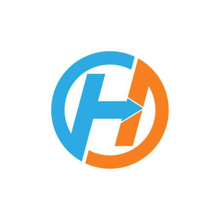 letter ht arrow circle geometric logo vector