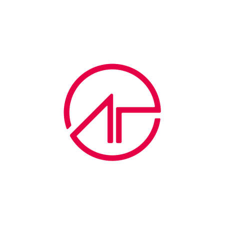 abstract letter ar circle geometric line design symbol logo vector