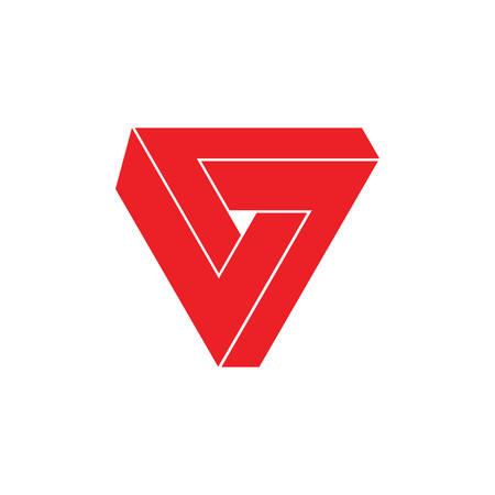 3d triangle geometric infinity logo vector