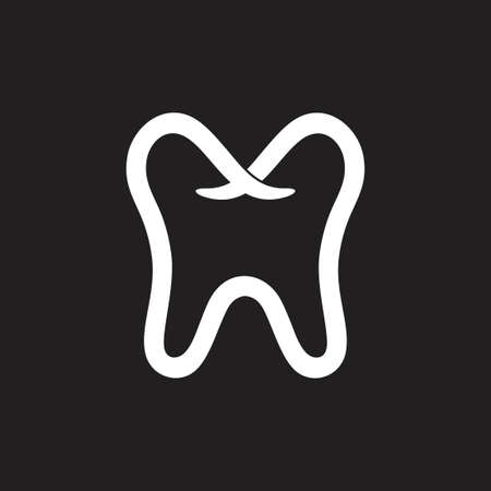 simple tooth dental line symbol vector