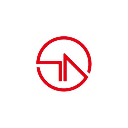 abstract letter ha circle geometric design arrow symbol logo vector