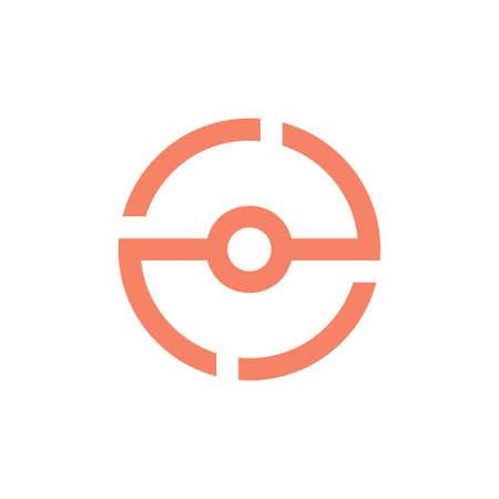 number 2e simple geometric circle line logo vector