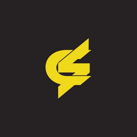 letter cs linked flat 3d overlapping logo vector