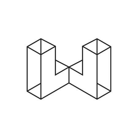 letter w 3d line art geometric logo vector