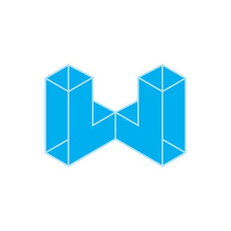 letter w blue diamond geometric3d logo vector Vectores