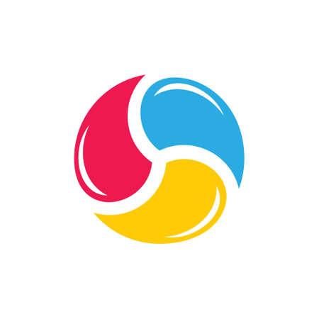 circle colorful water rotation geometric logo vector
