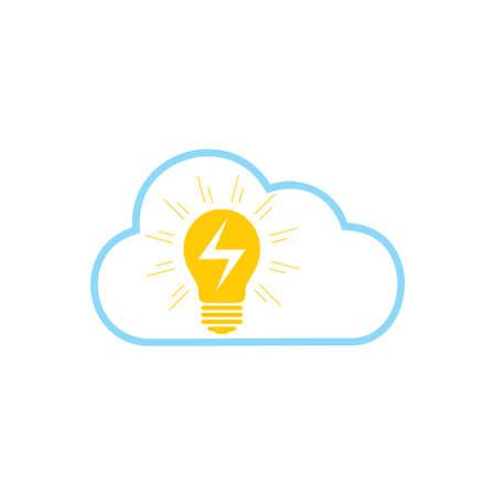 electric light bulb cloud symbol logo vector