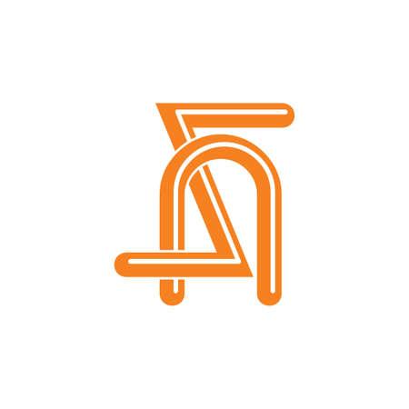 letters sn simple linked logo vector Illustration