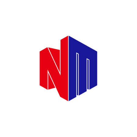 letter nm simple geometric 3d flat colorful design logo vector