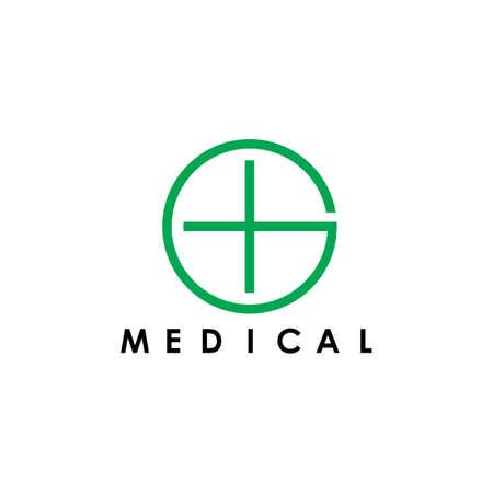 letter g plus medical simple geometric logo