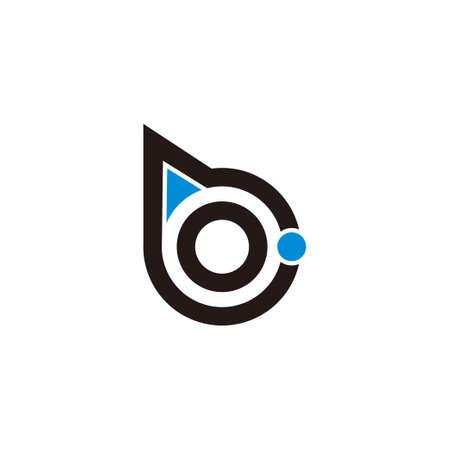 letter b circle geometric arrow dot colorful logo vector