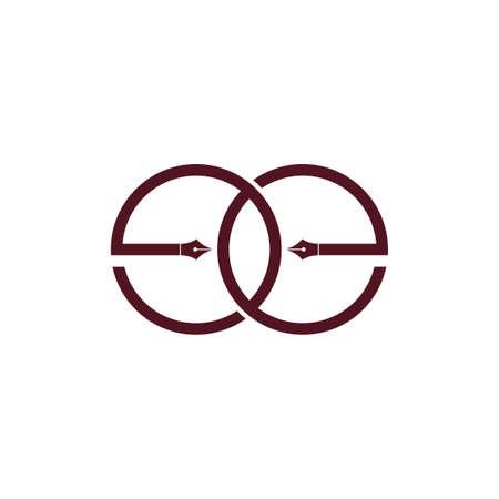 letter ee pen education linked logo vector